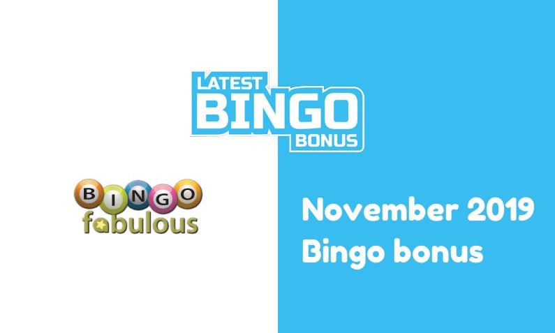 Latest bingo bonus from Bingo Fabulous Casino November 2019
