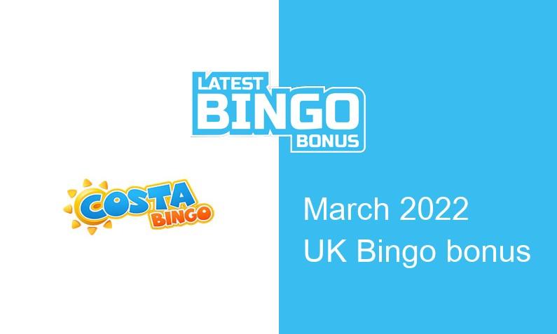 Latest Costa Bingo bingo bonus for UK players