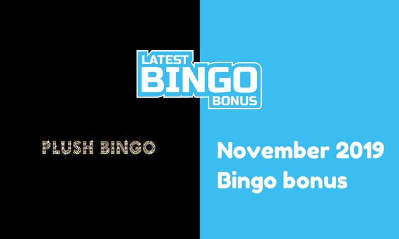 Latest Plush Bingo Casino bingo bonus November 2019