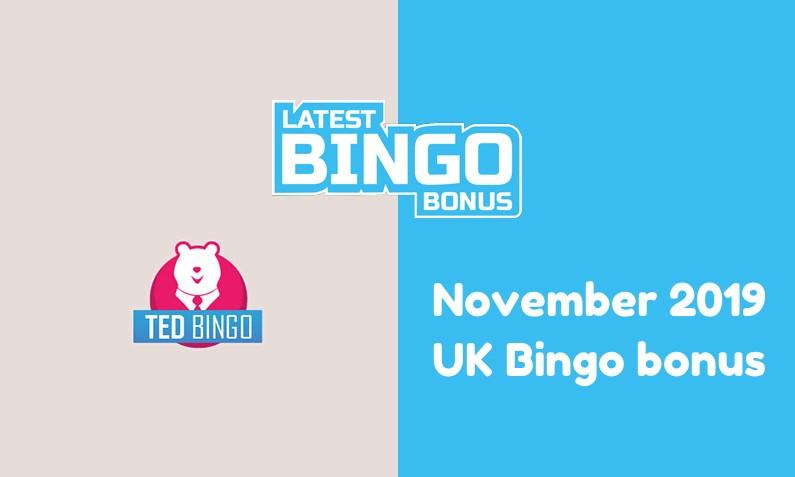Latest Ted Bingo UK bingo bonus November 2019