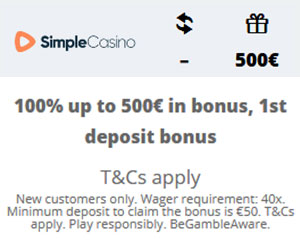 Latest bonus from Simple Casino